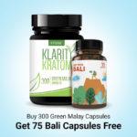 Buy 300 Green Malay Capsules Get 75 Bali Capsules Free